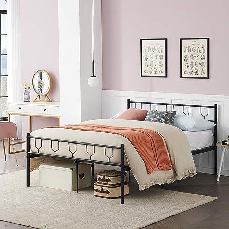 Symylife Lit Double, Cadre de lit en métal avec Lattes et tête de lit en métal, pour Matelas 140x190 cm, Cadre de lit pour Adultes, Adolescents, sans sommier, Noir