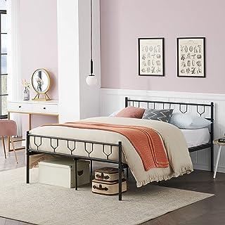 Symylife Lit Double, Cadre de lit en métal avec Lattes et tête de lit en métal, pour Matelas 140x190 cm, Cadre de lit pour...