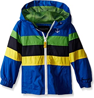 London Fog Little Boys' Toddler Chest Stripe Poly Lined Jacket, Blue, 3T