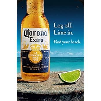 Amazon Com Tin Sign Metal Poster Plate 8 X12 Of Corona Beer Log Off Lime In By Food Beverage Decor Sign Posters Prints