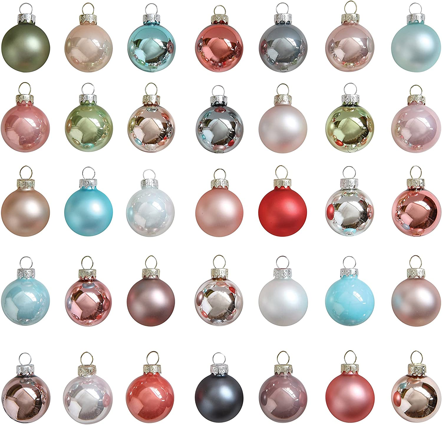 Creative Co Op XM20 Set of 20 Pastel Multicolor Round Glass Ornaments