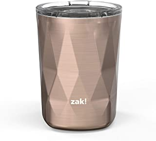 Zak Designs Fractal Vacuum Insulated Stainless Steel Double Old Fashioned Tumbler with Press-In Lid and Splash-Proof Design, Perfect Drinkware for Indoor/Outdoor Activity (13oz, Rose Gold, BPA Free)