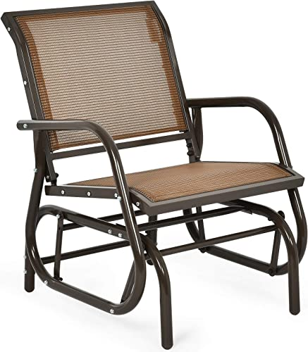 high quality Giantex Swing Glider Chair W/Study Metal Frame outlet online sale Comfortable Patio Chair 2021 Love-Seat for Garden, Porch, Backyard, Poolside, Lawn Outdoor Rocking Chair (1, Brown) online sale