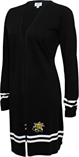 Crable NCAA Women's Campus Specialties Long Open Cardigan, Black, Small