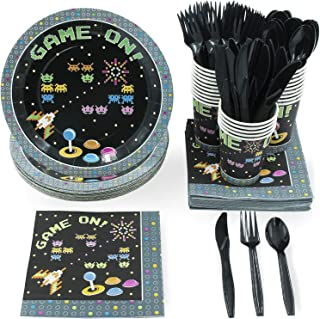 Juvale 144-Piece Game On Arcade Party Pack (Serves 24 Guests) Plates, Napkins, Cups, Forks, Spoons and Knives