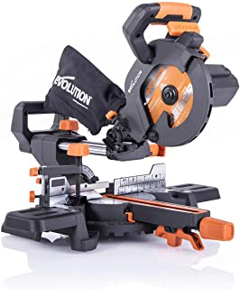 Evolution Power Tools R185SMS+ Compound Saw with Multi-Material Cutting, 45 Degree Bevel, 50 Degree Mitre, 210 mm Slide, 1...