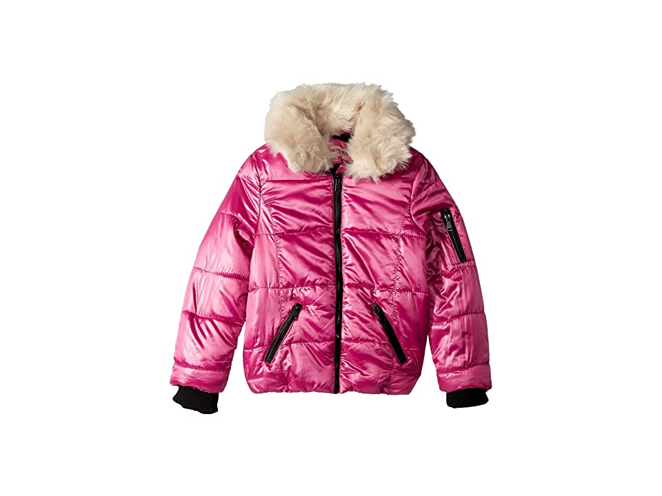 Urban Republic Kids Emma Puffer Jacket w/ Cream Faux Fur Collar (Little Kids/Big Kids) (Bubble Gum Pink) Girl