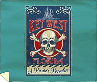 Lantern Press Key West, Florida - Skull and Crossbones 45150 (88x104 King Microfiber Duvet Cover)