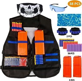 RATEL Kit de Chaleco Táctico para Niños, 37pcs Traje de chaqueta para N-Strike Elite Series con 30 piezas de espuma Dardos + 2 Quick Reload Clips + 1 Gafas protectoras + 1 Máscara + 2 muñequera