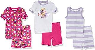 Spotted Zebra Pijama de algodón de Ajuste ceñido Niñas, Pack de 6
