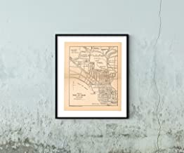 Map|Pocket Guide to The West Indies, Port of Spain 1939 City|Vintage Fine Art Reproduction|Size: 20x24|Ready to Frame