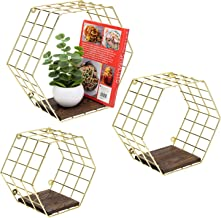 MyGift Deluxe Modern Brass Tone Metal Wire &Burnt Wood Hexagon Wall Mounted Storage Display Shelves, Set of 3