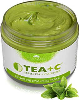 TEA+C Green Tea + Cucumber + Parsley Detox Mud Mask - Natural and Organic Face Mask - Anti-Aging, Antioxidant Defense Against Acne, Blackheads & Wrinkles for a Lush, Soft & Glowing Complexion