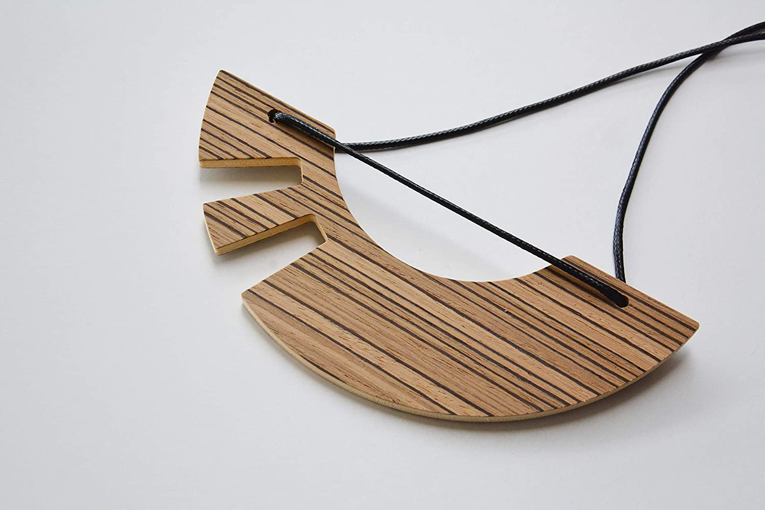 Brown striped half moon All items free shipping wood necklace with cord Modernist Recommendation handm