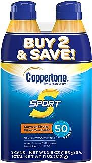 اسپری طیف گسترده ای ضد آفتاب Coppertone SPORT طیف گسترده SPF 50 (5.5 اونس در هر بطری ، بسته 2) (بسته بندی ممکن است متفاوت باشد)