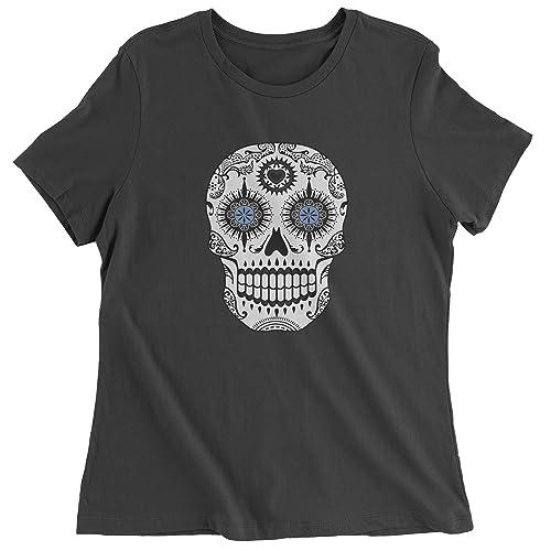 Expression Tees Blue Eyes White Sugar Skull Womens T-Shirt