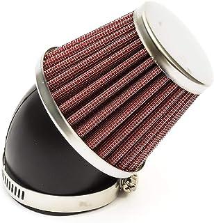 50mm Filtre /à Air Moto Rouge Performance T/ête Bomb/ée Style Haut D/ébit Cou Courb/é