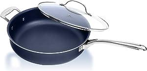 Granitestone Sauté Pan with Lid – 5.5 Quart Multipurpose Nonstick Jumbo Cooker with Glass Lid, Stainless Steel Handle & Helper Handle, Oven & Dishwasher Safe, 100% PFOA FREE