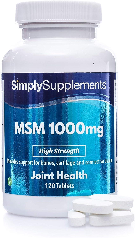 Metilsulfonilmetano MSM 1000 mg - ¡Bote para 2 meses! - Apto para veganos - 120 comprimidos - SimplySupplements