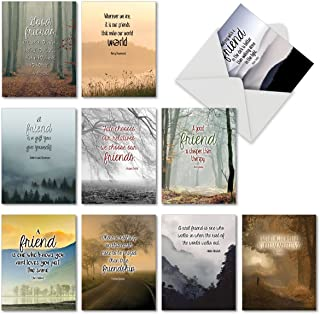 10 Assorted 'Friendly Words' Greeting Cards 4 x 5.12 inch - Featuring Quotes About Friendship, Appreciation - 10 Blank Greeting Cards with Envelopes M6618OCBsl