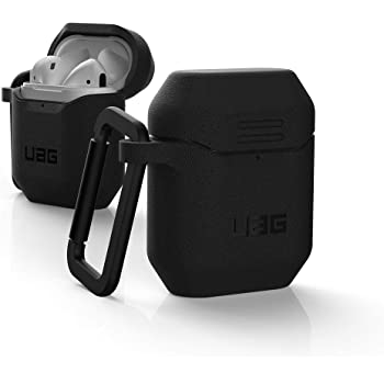 Urban Armor Gear UAG AirPods Case, Silicone (Version 2) Rugged Weatherproof Protection Case/Cover Designed for AirPods (2nd Gen & 1st Gen), Wireless Charging Compatible (AirPods Not Included) - Black