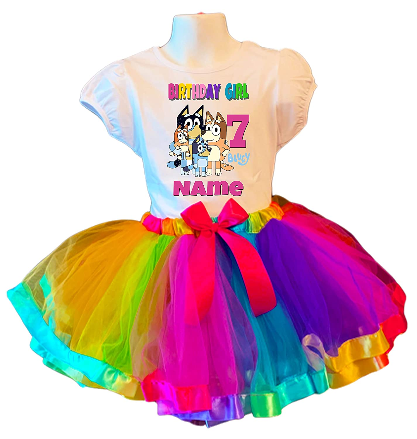 Bluey Party Dress Very popular 7th Cheap mail order specialty store Birthday Shirt Rainbow Tutu Outfit