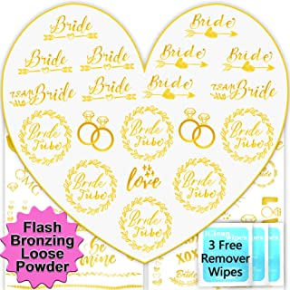 Hapico Team Bride Tribe Tattoos, Temporary Flash Bachelorette Party Decorations Gold Exclusive Heart Shape Designed Tribe Tattoo Stickers for Wedding, with 3 Temp-Tattoo Remover Wipes, 3 Sheets