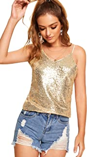 Romwe Women's Sparkle Sequin V Neck Cami Sexy Club Tank Top