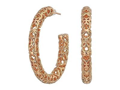 Kendra Scott Maggie 1.5 Hoop Earrings (Rose Gold/Filigree Metal) Earring