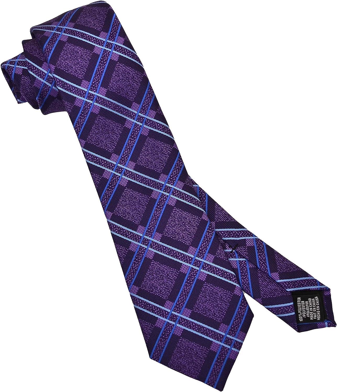 Save On Products Designer Perry Men's Necktie Denner Plaid Purple
