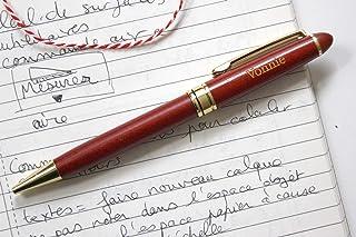 Penna personalizzata in legno, regalo personalizzato, penna inciso con vostro testo, legno rosso e testo dorato
