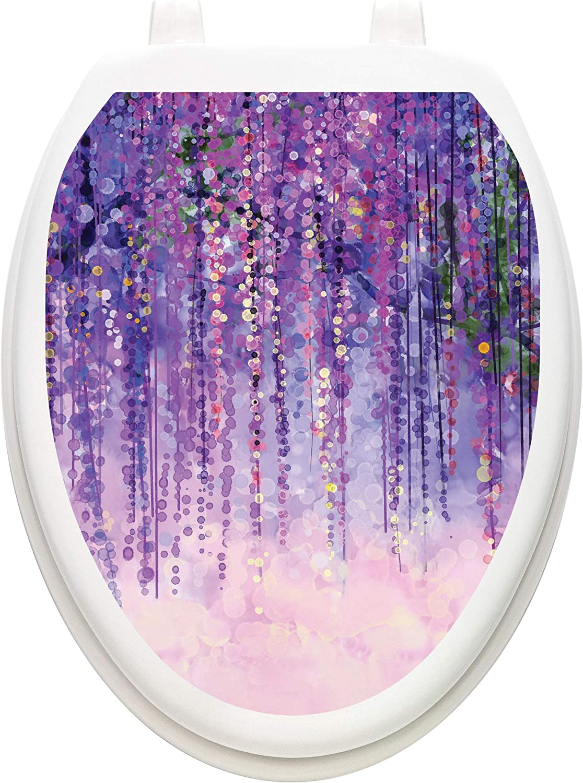Toilet Tattoos Max 42% OFF Purple Rain Cover Louisville-Jefferson County Mall Lid Vinyl Elongated