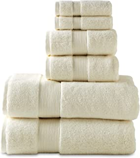 "700 GSM 6 Piece Towels Set, 100% Cotton, Zero Twist, Premium Hotel & Spa Quality, Highly Absorbent, 2 Bath Towels 30"" x 54"", 2 Hand Towel 16"" x 28"" and 2 Wash Cloth 12"" x 12"". Ivory Color"