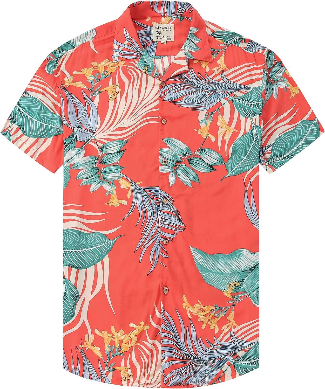 Damipow Hawaiian Shirts for Men Short Sleeve Aloha Beach Shirt Floral Summer Casual Button Down Shirts