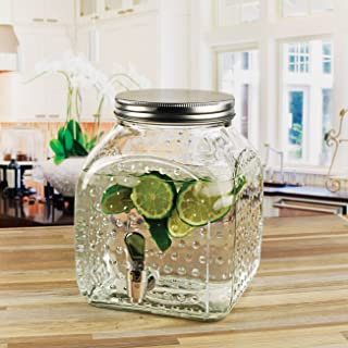 Circleware 69150, Gla Hobnail Square Bottom Glass Beverage Dispenser with Metal Lid, 1.25 Gallon, Glassware for Water, Iced Tea Kombucha, and all type of Cold Drinks, Clear