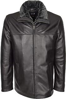 HOL Mens Leather Zip Box Jacket Classic Fit Casual Detachable Collar Erik Black
