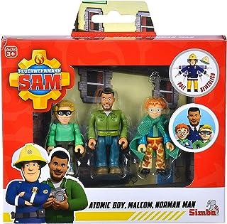 Simba 109251091 - Brandweerman Sam Superhelden figurenset / politieagent Malcom, Norman en James / volledig beweegbaar / ...