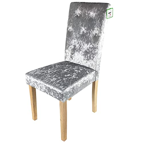 77d951cf1075 Household Discount Dining Chair in Silver Crushed Velvet. Solid Wood Legs Grey  Fabric Armchair.