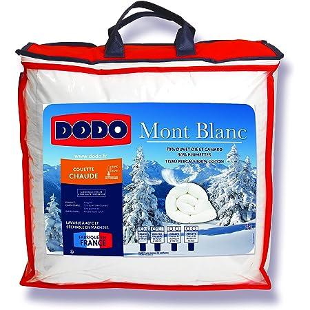 DODO - Couette Chaude Mont Blanc 240X260 - Densité 300g/m2 - Garnissage Duvet d'Oie Plumettes - Housse 100% Percale de Coton - Traitement Antiacarien - Fabriqué en France - Lavable en Machine à 40°