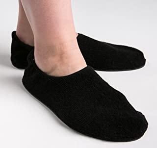 Secure SLPR-1BL Non Skid Slipper Socks, Black - Slip Resistant Rubber Sole for Fall Injury Prevention (Large)