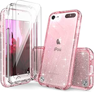 iPod Touch 7th Generation Case Pink Glitter for Girls, IDYStar 2 in 1 Shockproof Case with 2 HD Screen Protectors, Hybrid Heavy Duty Protection Cover for iPod Touch 5/6/7th Generation, Glitter Pink