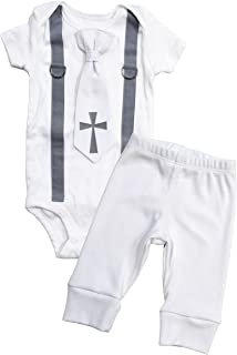 Baby Boy Baptism Outfit Cotton, Christening Outfits for Boys, Tie and Suspenders with White Pants