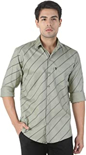 LEVIZO Men's Cotton Striped Full Sleeves Regular Fit Shirt