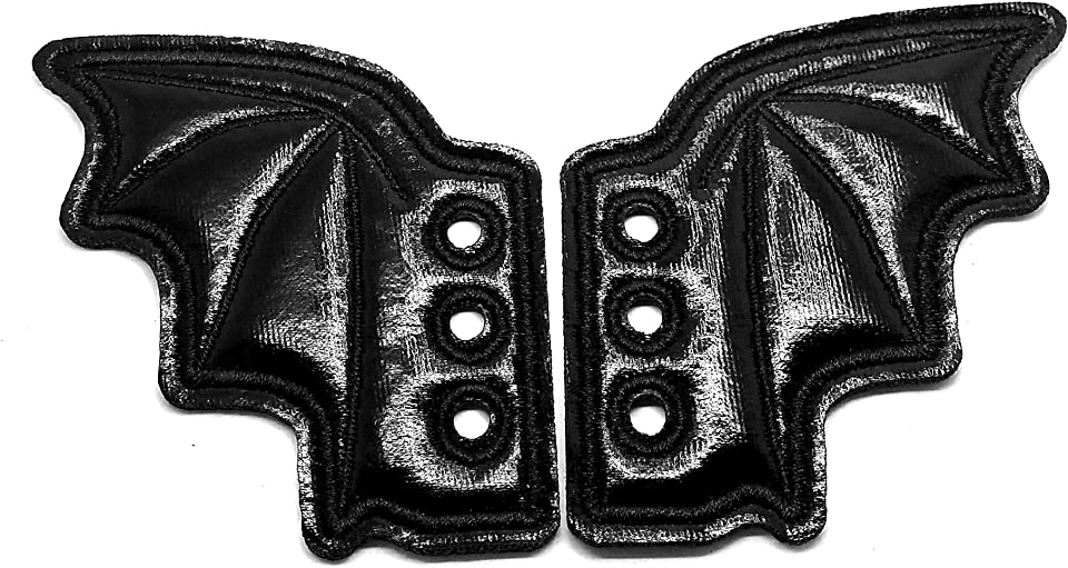 Shiny Black Bat Wing Shoe Decorations - for Laced Shoes - One Pair]