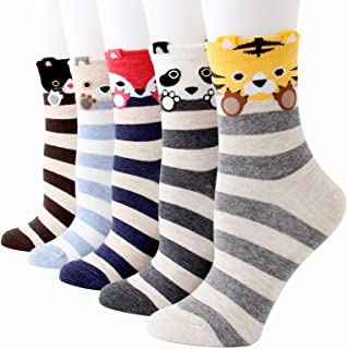 Bakicey Gebreide sokken voor dames en meisjes, katoen, leuk cartoonpatroon, elastische sportsokken, korte sokken, damessok...