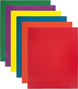 Emraw 2 Pocket with Three Prong Fastener File Portfolio Folder (Colors May Vary) – Used for Papers, Loose-Leafs, Business Cards, Compact Discs, Etc. (Random 3-Pack)