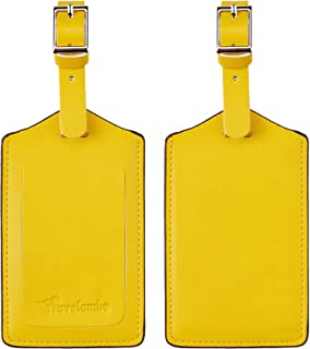 yellow luggage tags