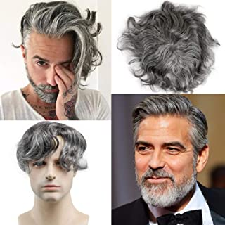 """Rossy&Nancy 100% European Human Hair Replacement Topper Man Hairpiece for Men 40% 1B Black Hair Mixed 60% Grey Color 130% Density 6""""x8"""" Mono Lace with PU Around"""