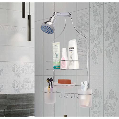 Zahab Stainless Steel Shower Caddy with Two Tumbler Holder, 1 Shelve, 1Soap Case and 2Towel Holder