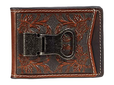 M&F Western Cactus Concho Floral Embossed Money Clip Wallet (Brown) Handbags